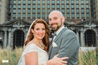 Detroit Train Station bride and groom