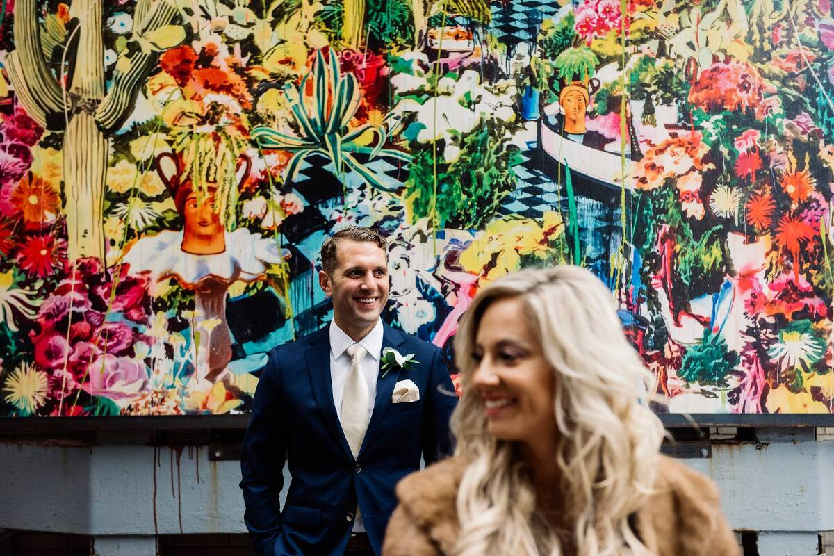 bride and groom in detroit alley